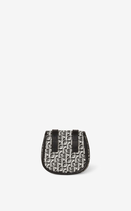 MISTY GREY Courier mini jacquard messenger bag for unisex KENZO