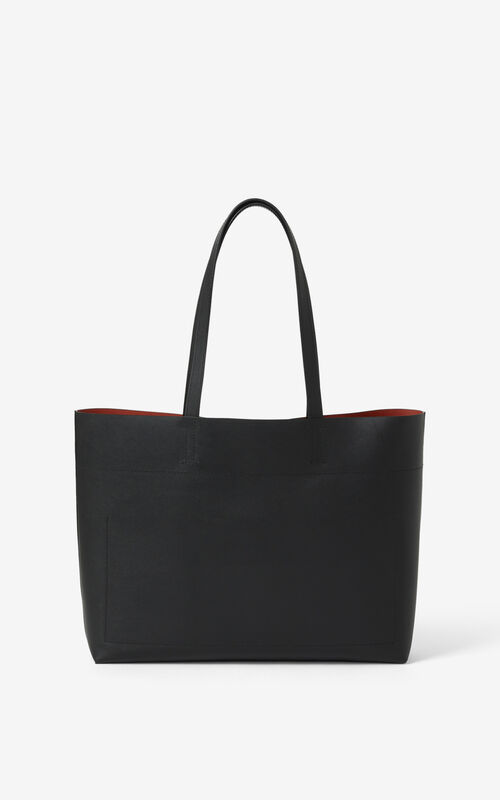 BLACK KENZO Cadet leather tote bag for unisex