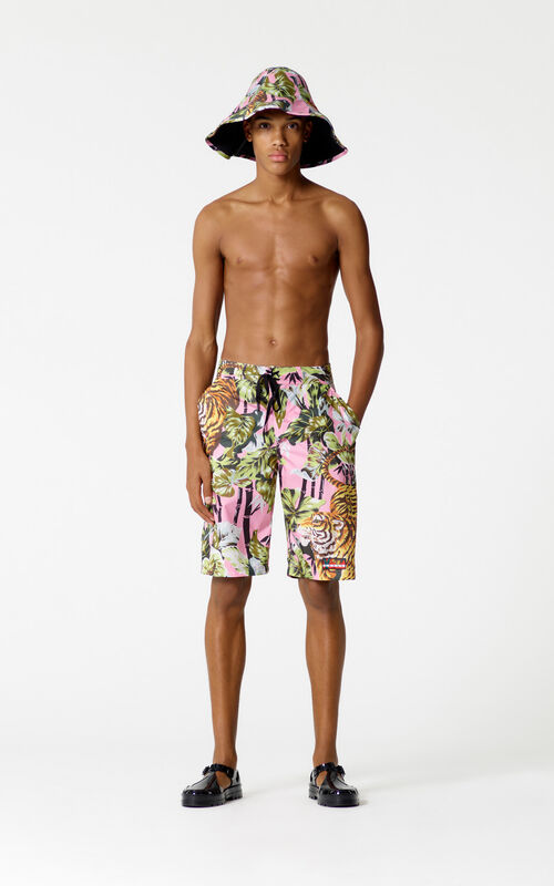 FLAMINGO PINK 'Bamboo Tiger' long swimshorts for men KENZO