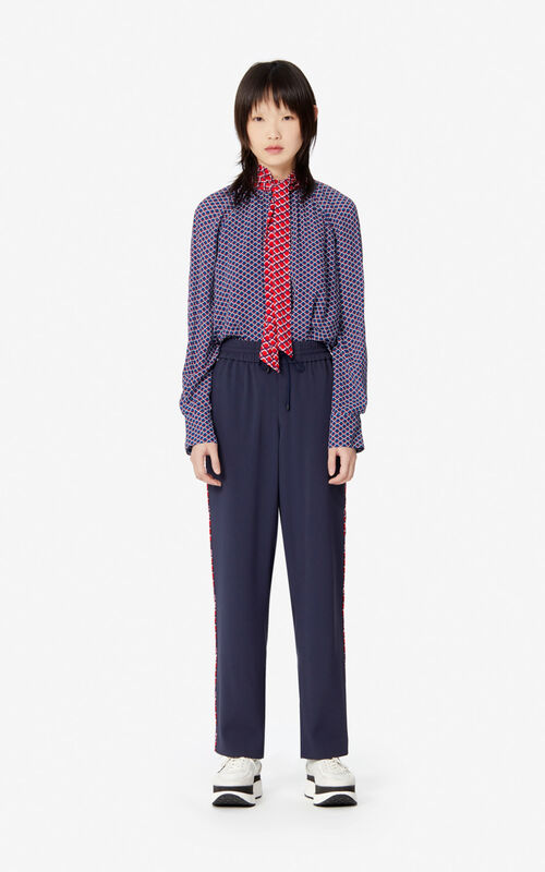 MIDNIGHT BLUE Fluid crêpe 'Sea Lily' trousers for women KENZO