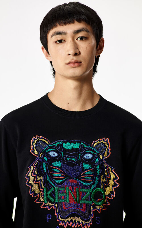 BLACK 'Holiday Capsule Collection' embroidered Tiger sweatshirt for women KENZO