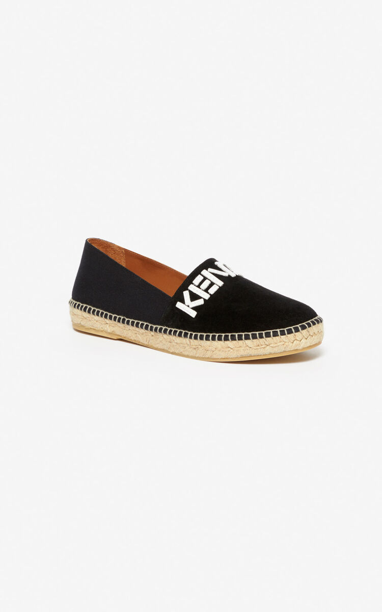 BLACK KENZO logo elasticated espadrilles for unisex