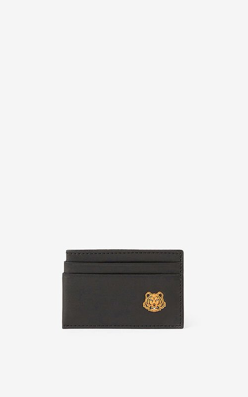 BLACK Tiger Crest leather card holder  for unisex KENZO