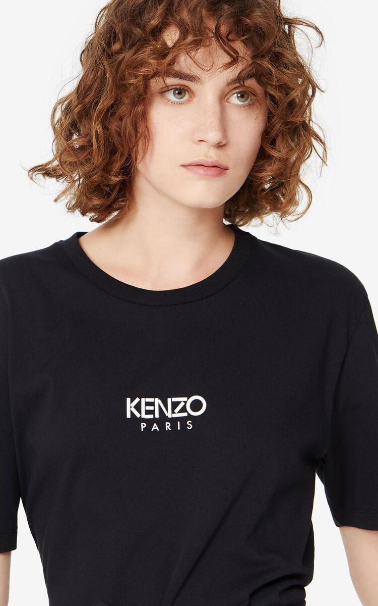 BLACK T-shirt dress KENZO LOGO for women