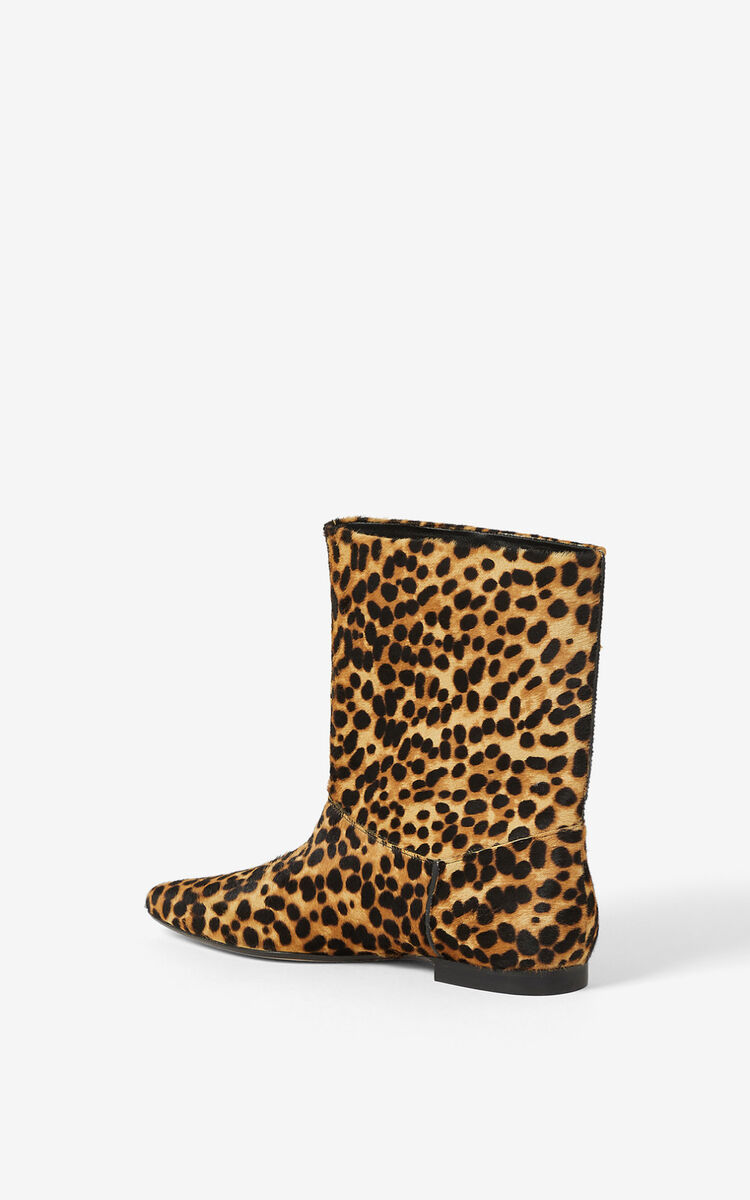 CAMEL K-Line 'Leopard' leather ankle boots for unisex KENZO