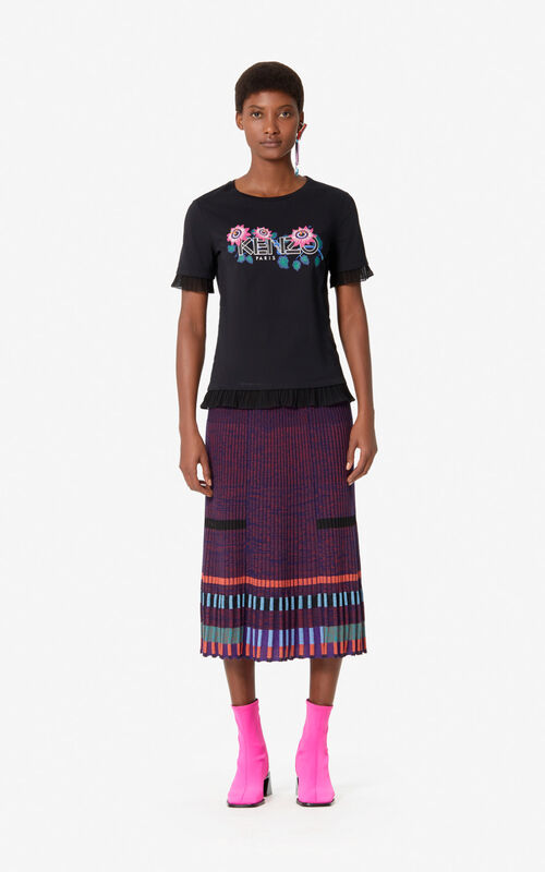 BLACK 'Passion Flower' KENZO Paris T-shirt for women