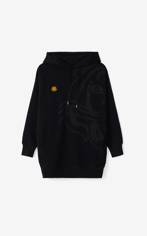 BLACK K-Tiger oversized hooded sweatshirt dress for unisex KENZO