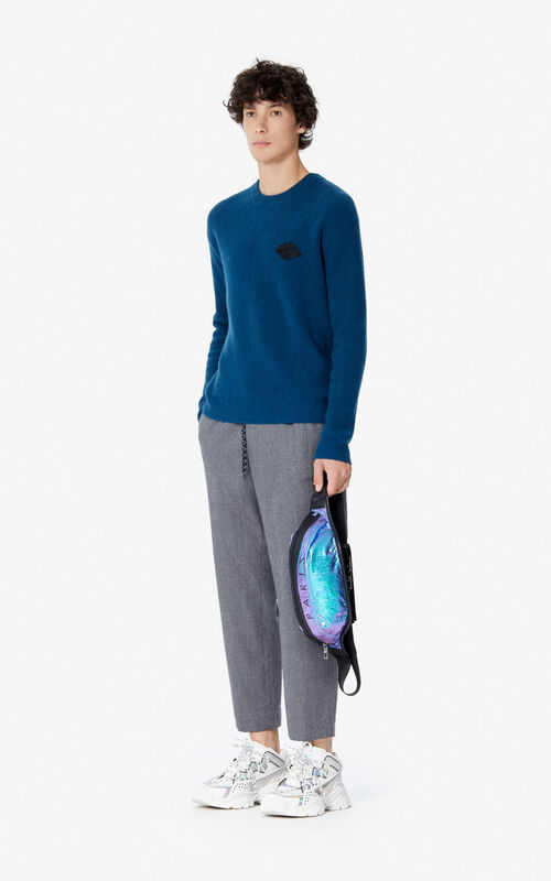 DUCK BLUE 'Holiday Capsule' cashmere Eye jumper for women KENZO