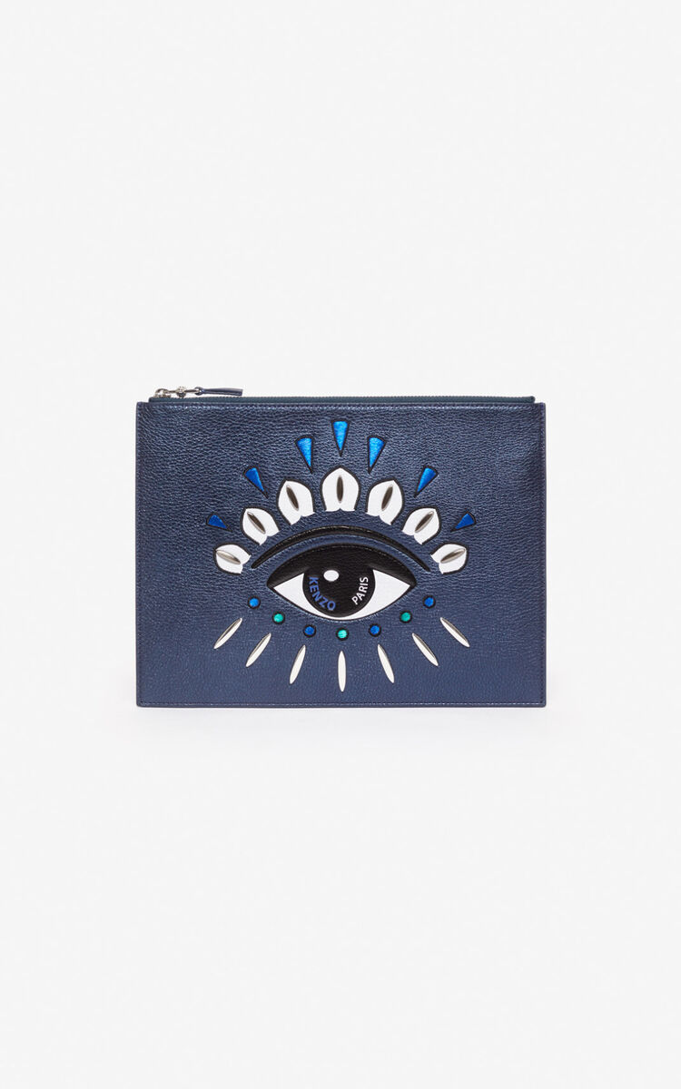 NAVY BLUE A4 Kontact Eye clutch for unisex KENZO