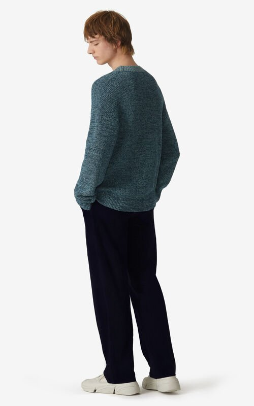 DUCK BLUE K Logo mouliné jumper for men KENZO