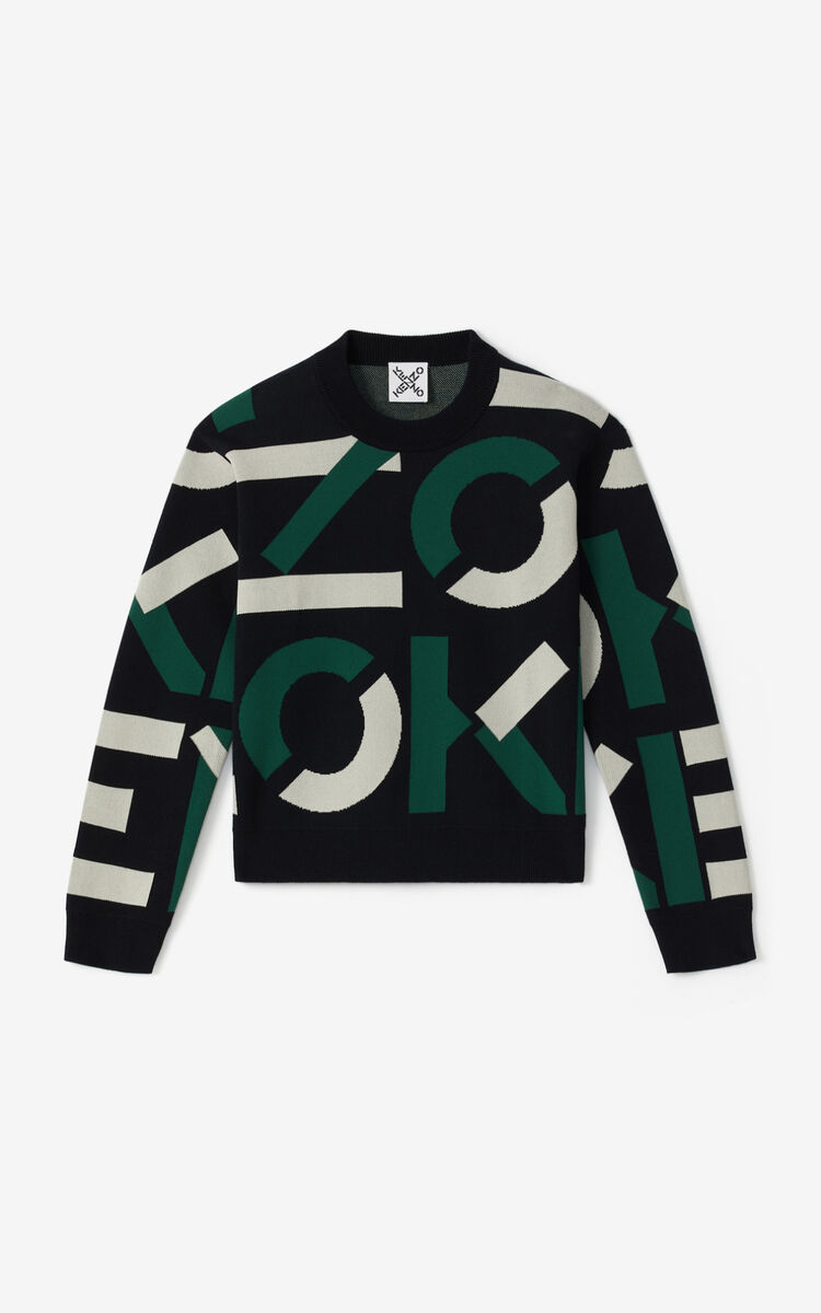 GREEN KENZO Sport jacquard monogram jumper for men