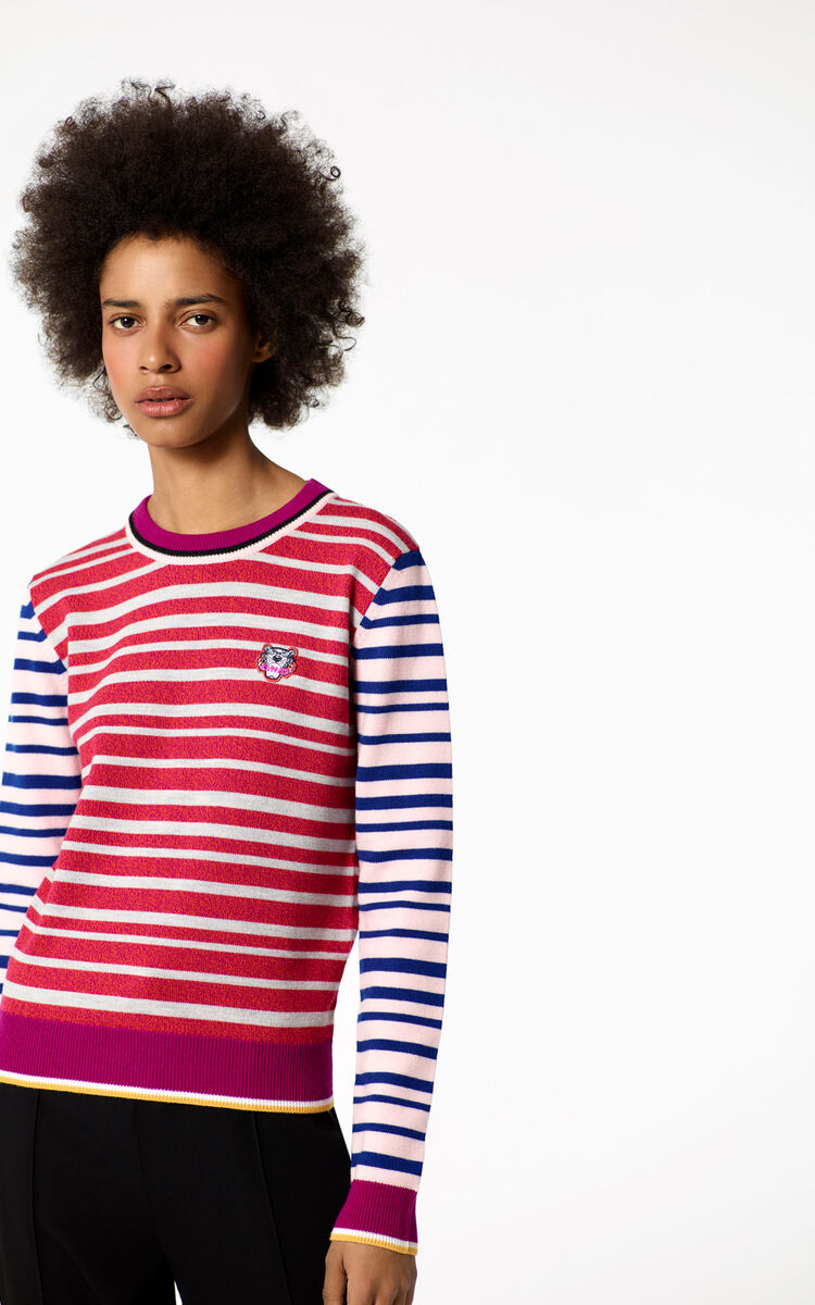 DEEP FUSCHIA Tiger crest sweater for women KENZO