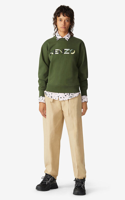 DARK KHAKI KENZO Logo sweatshirt for women
