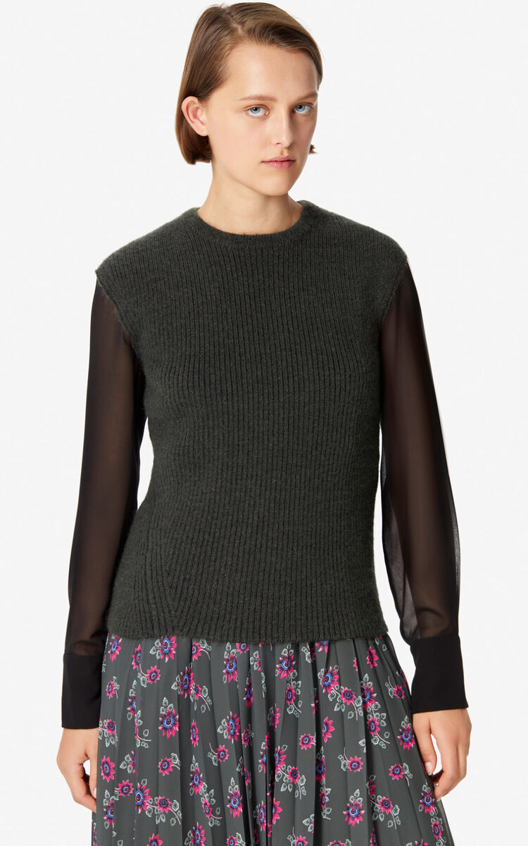 DARK KHAKI Dual-material jumper for women KENZO