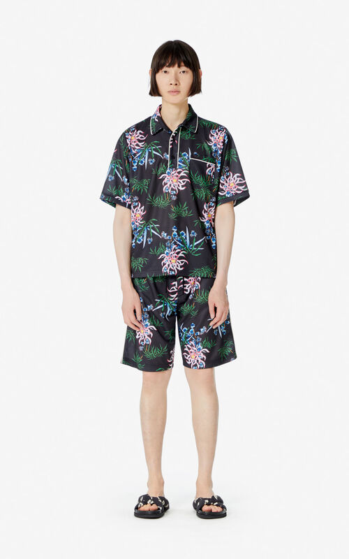 BLACK 'Sea Lily' polo shirt for men KENZO