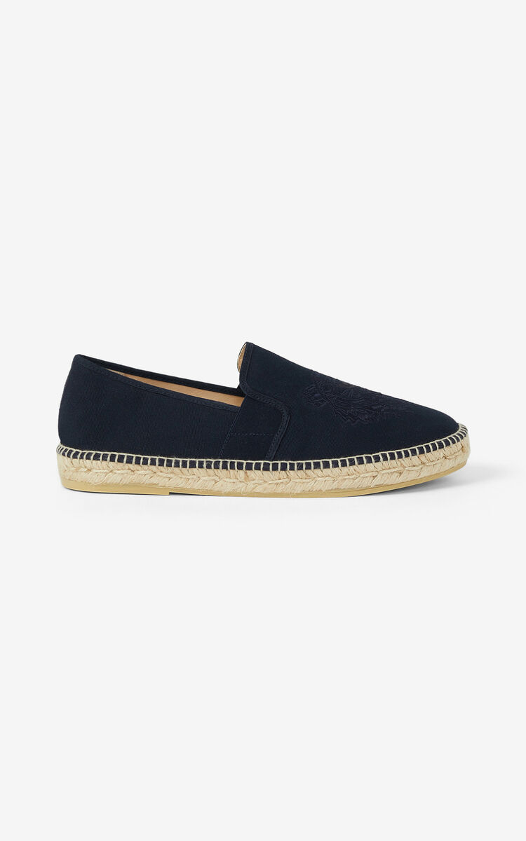 NAVY BLUE Tiger stretch canvas espadrilles for unisex KENZO
