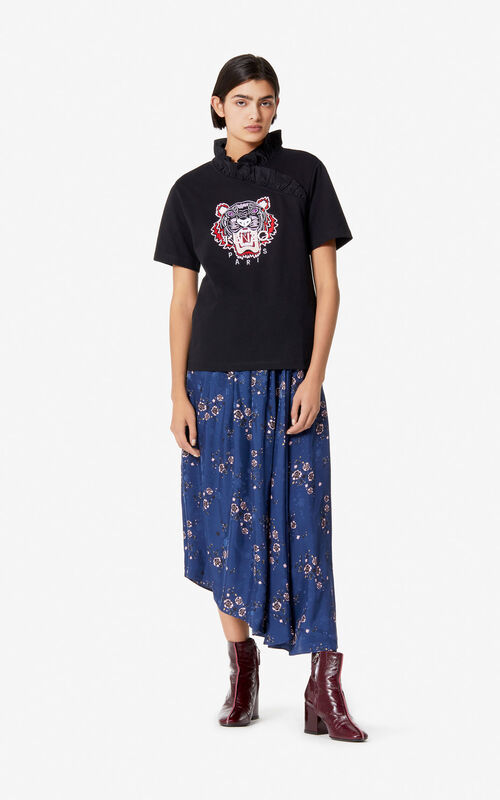 NAVY BLUE 'Cheongsam Flower' midi skirt for women KENZO