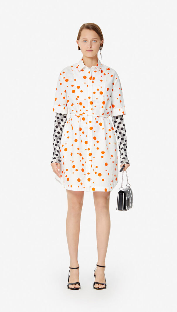 MEDIUM ORANGE 'Dots' shirt dress for women KENZO