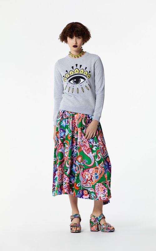 PALE GREY Embroidered Eye sweater for women KENZO