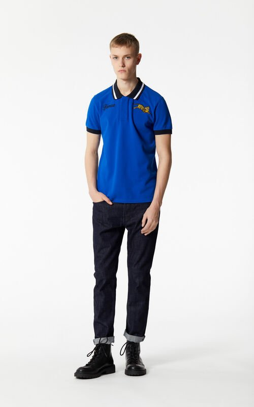 FRENCH BLUE 'Jumping Tiger' polo shirt for men KENZO