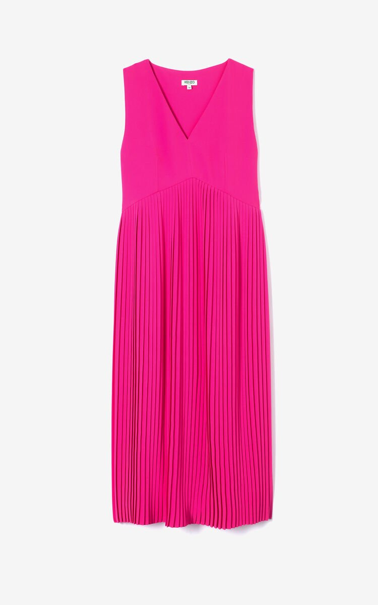 DEEP FUSCHIA Pleated maxi dress for women KENZO