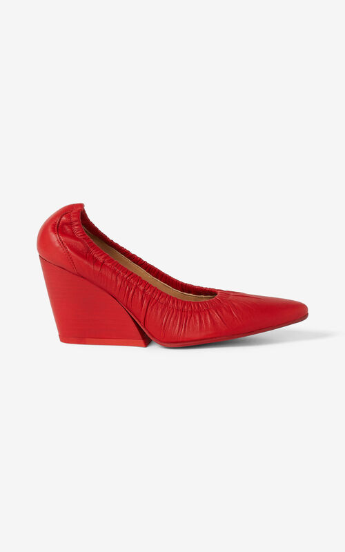 MEDIUM RED WRINKLE leather court shoe for unisex KENZO