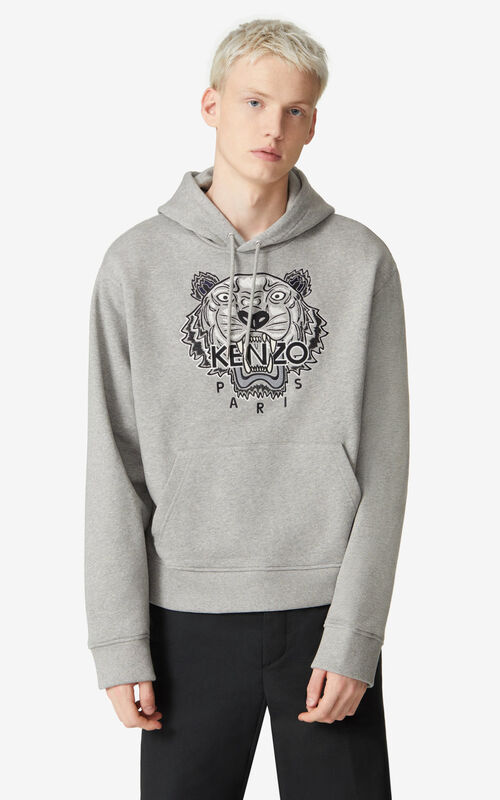 PEARL GREY Tiger hooded sweatshirt for men KENZO