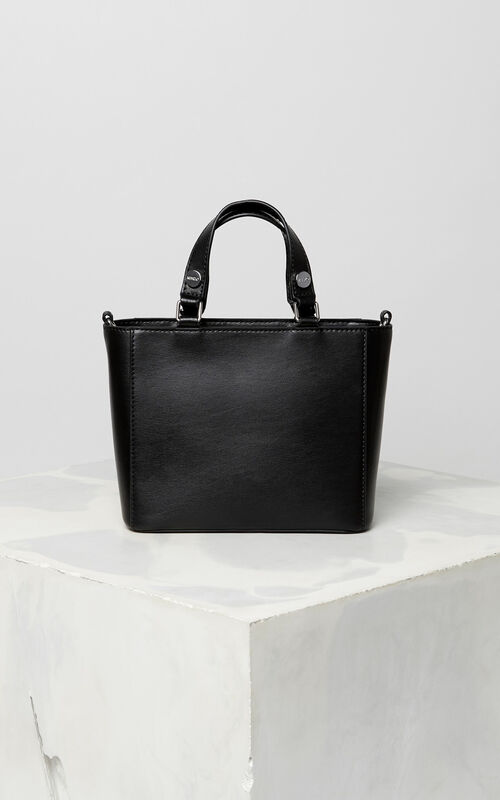 Black Small Eye Leather Tote Bag For Uni Kenzo