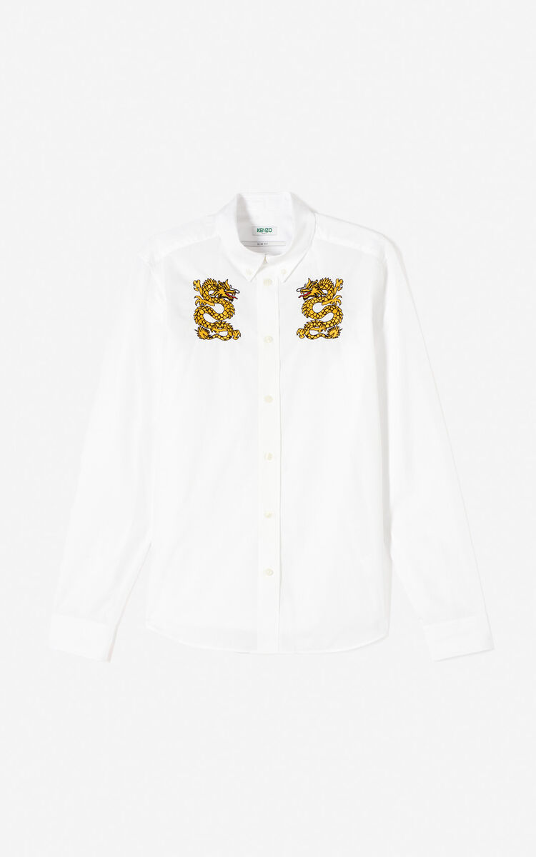 WHITE Embroidered dragon shirt for men KENZO