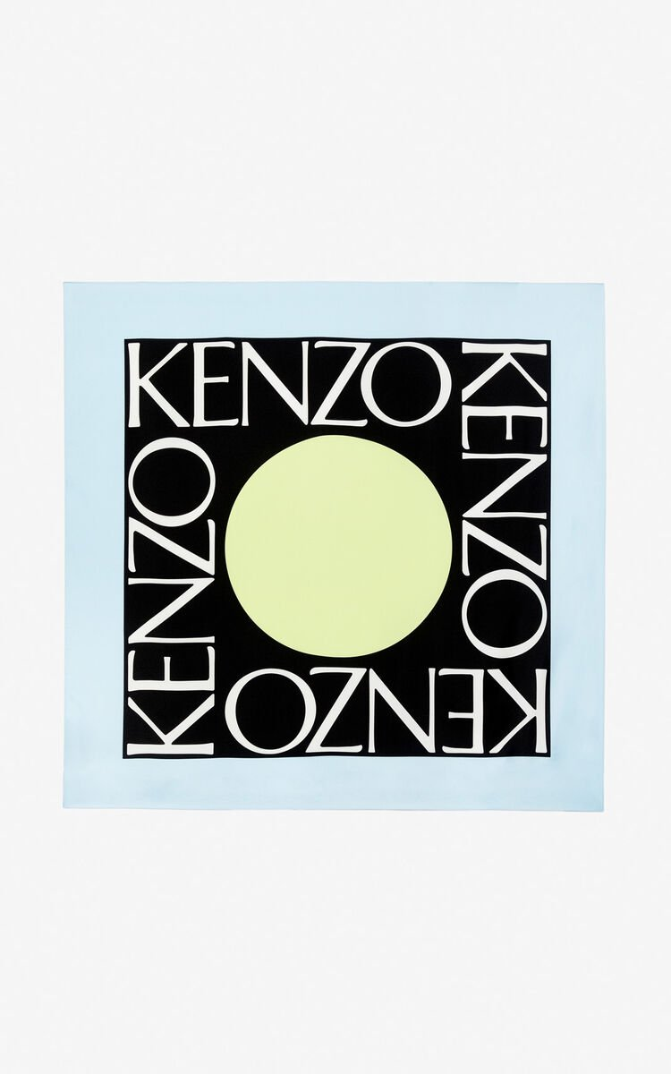 SKY BLUE 'Square Logo' colorblock silk scarf for unisex KENZO