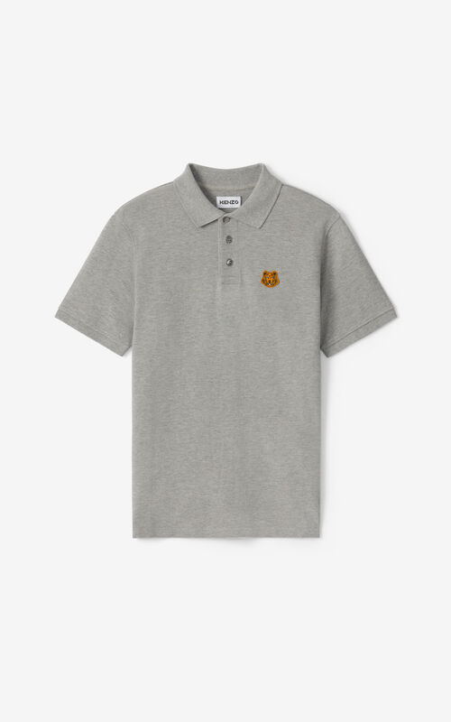 PEARL GREY Tiger Crest polo for unisex KENZO