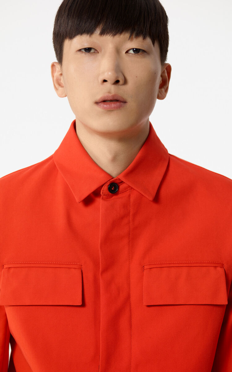 MEDIUM RED Colour-blocked safari jacket for men KENZO