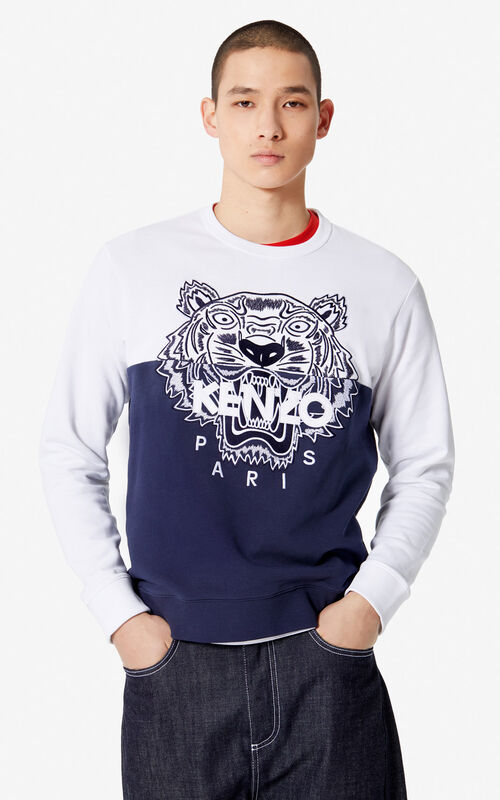 93c06b91312 MIDNIGHT BLUE 'Colorblock Tiger' sweatshirt for men KENZO ...