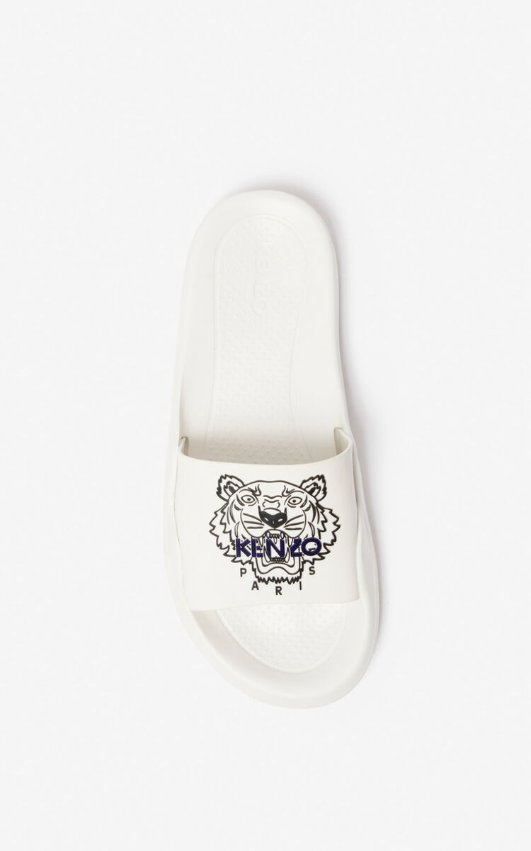 WHITE Tiger pool mules for women KENZO