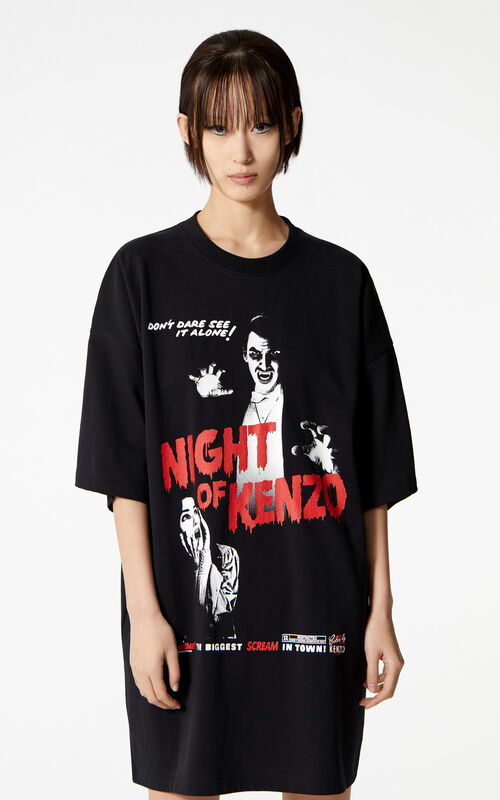 BLACK 'Night of Kenzo' t-shirt dress for women