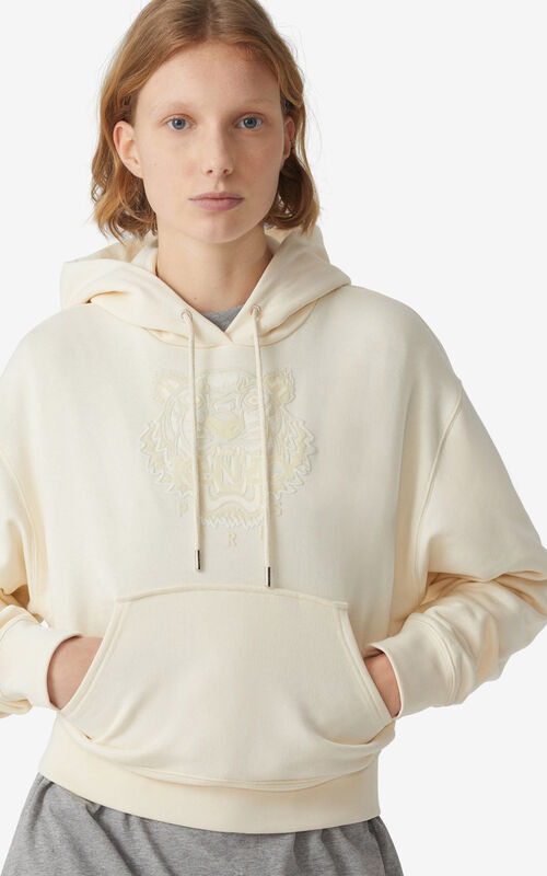 ECRU Tiger Flock boxy hoodie for women KENZO