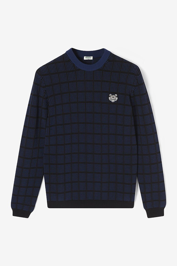 NAVY BLUE Check Tiger Crest Sweater for men KENZO