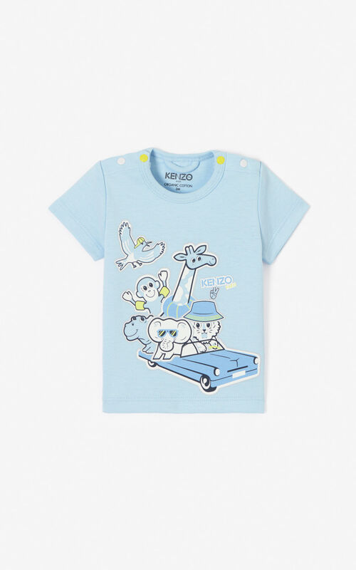 LIGHT BLUE 'Tiger Friends' T-shirt  for women KENZO