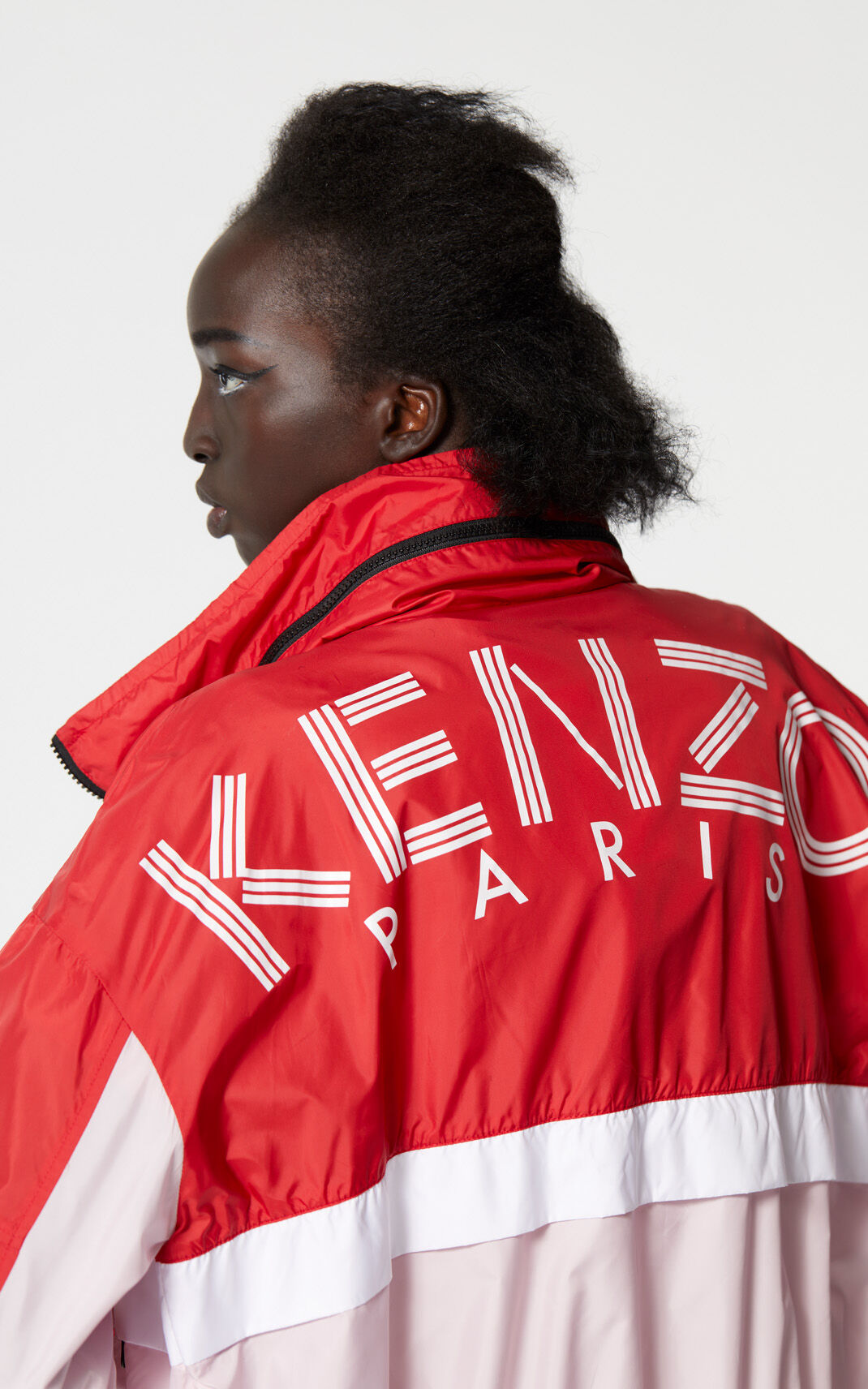 MEDIUM RED KENZO Logo colour block windbreaker for women