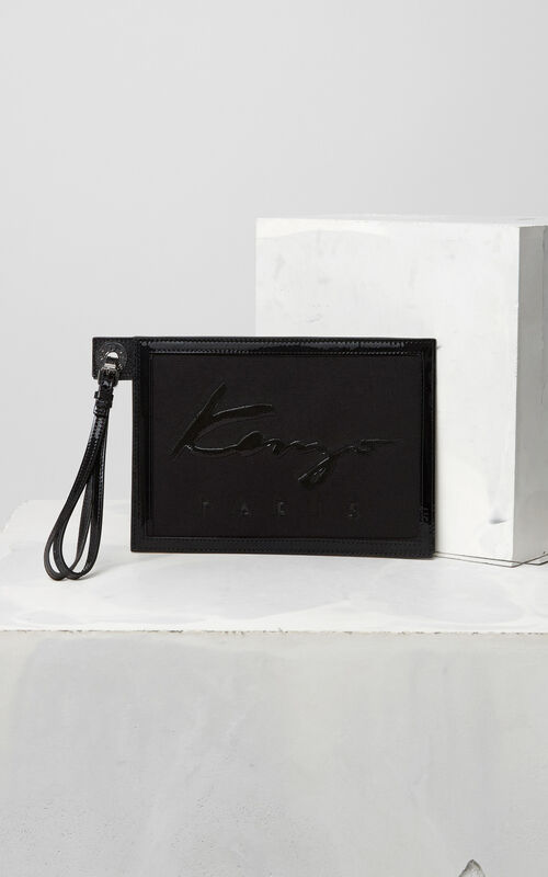 BLACK KENZO Signature A5 pouch for unisex