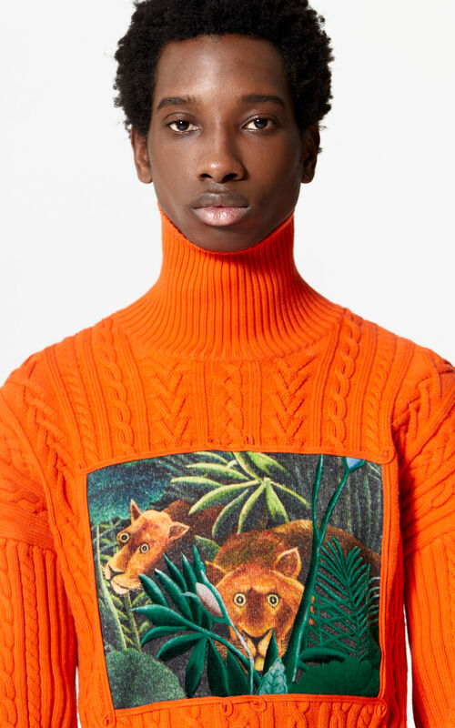 MEDIUM ORANGE Printed turtleneck jumper for women KENZO