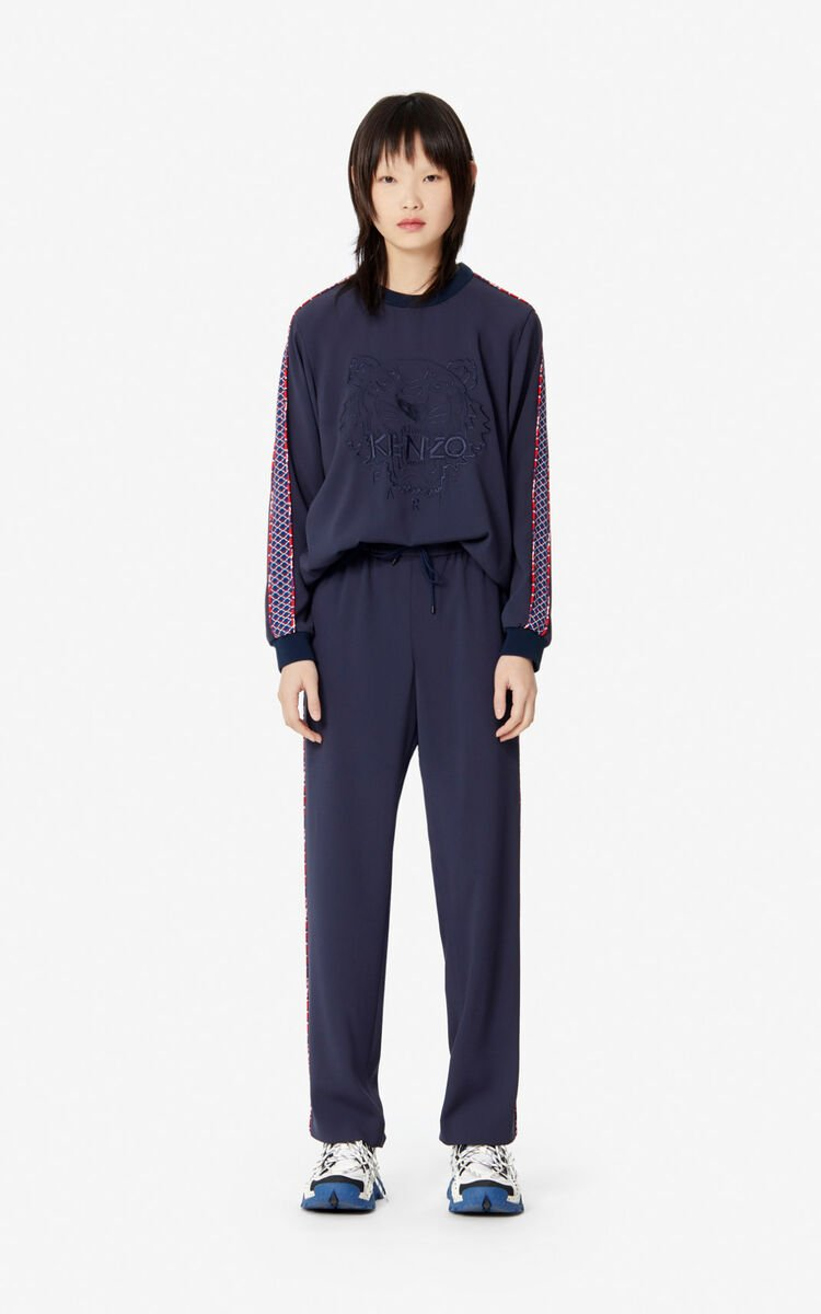 MIDNIGHT BLUE 'Fishnet' Tiger crepe top for women KENZO