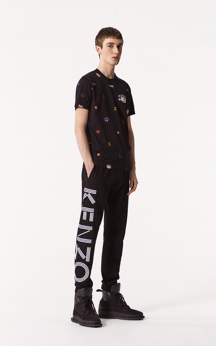 BLACK Joggers with KENZO logo for men