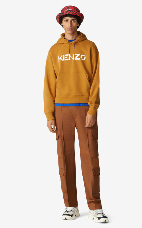 DARK BEIGE KENZO Logo hoodie for men