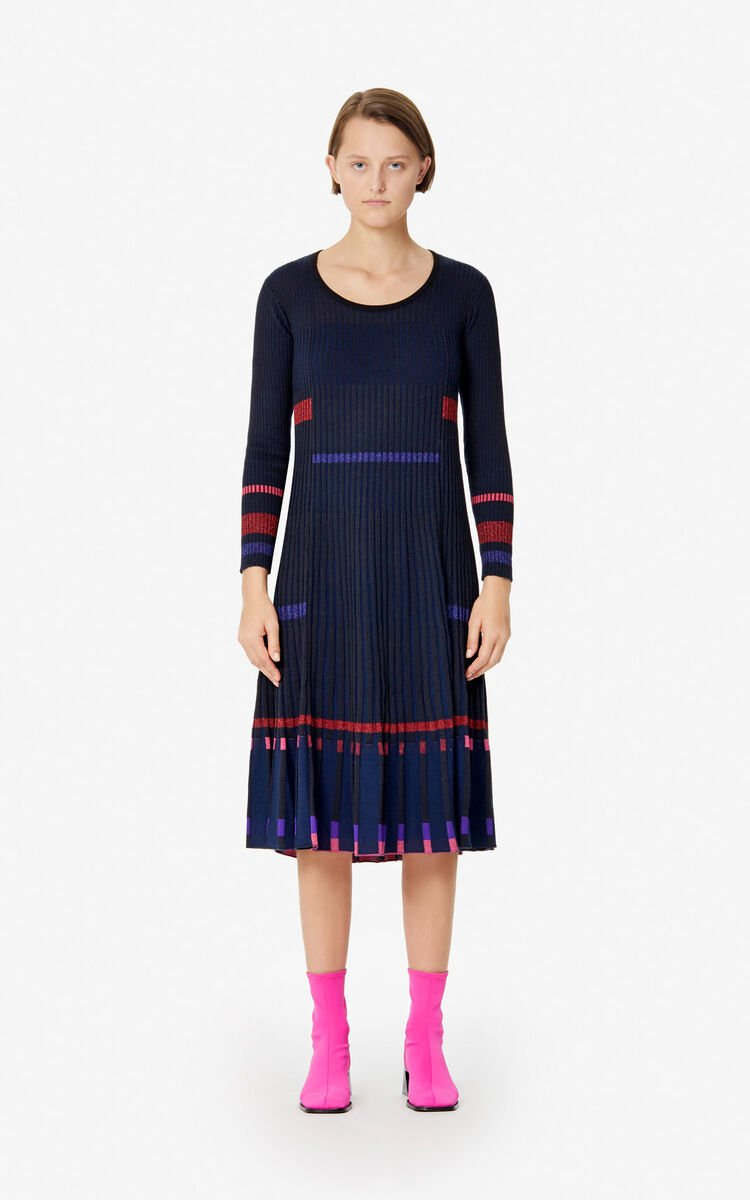 BLACK Rib knit midi dress for women KENZO