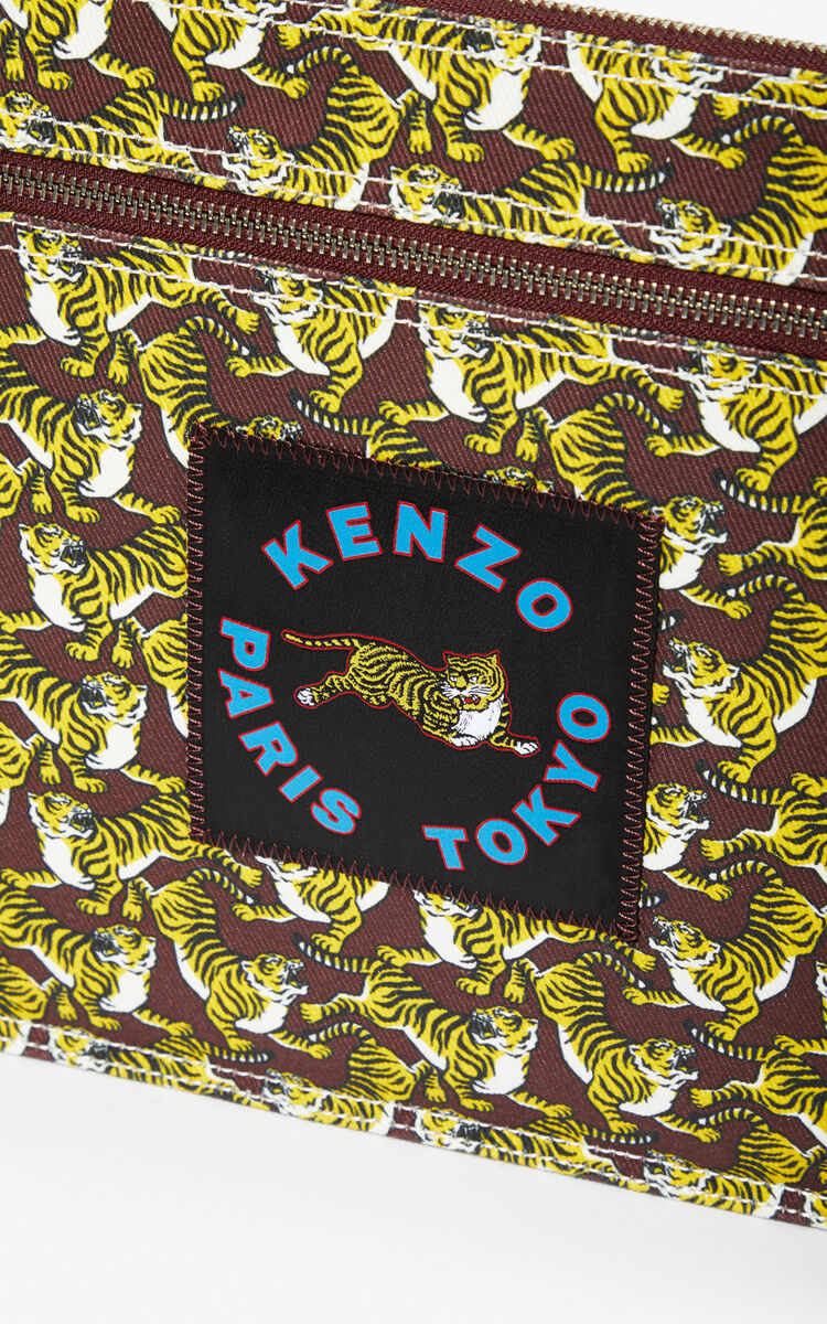 BORDEAUX 'Running Tiger' XL clutch for women KENZO