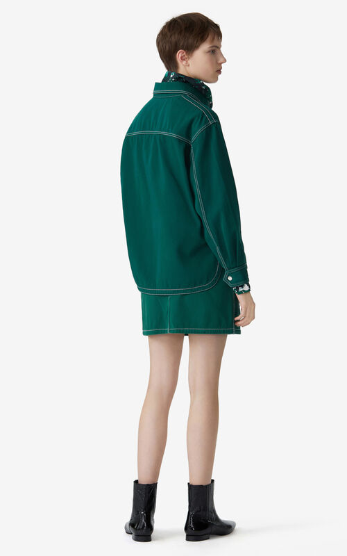BOTTLE GREEN Overdyed officer's shirt for women KENZO