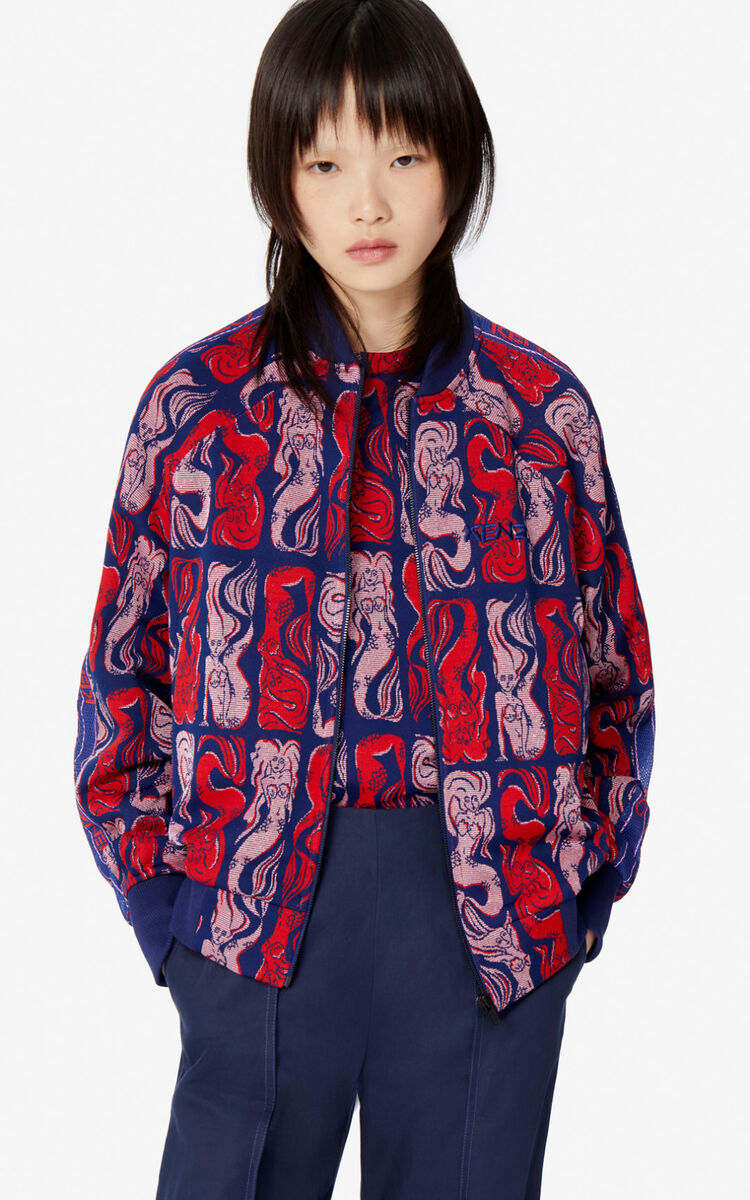 MIDNIGHT BLUE 'Mermaids' baseball jacket for women KENZO