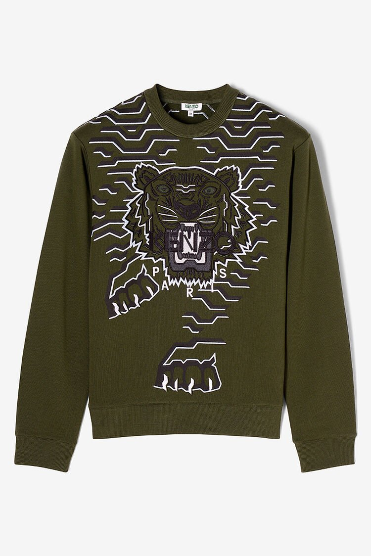 DARK KHAKI Geo Tiger Sweatshirt for women KENZO