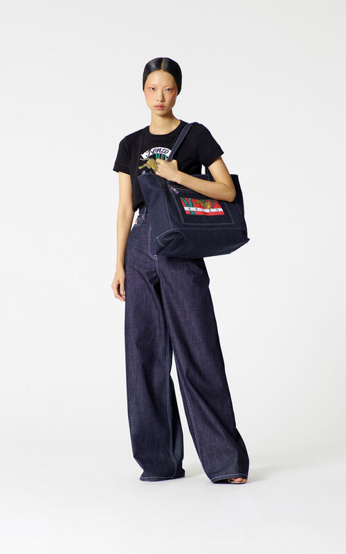 NAVY BLUE Belted jeans for women KENZO